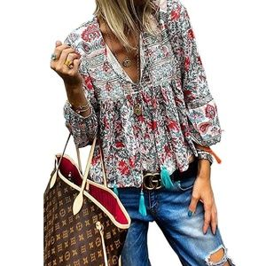 Boho Floral Print V Neck Long Sleeve Loose Top
